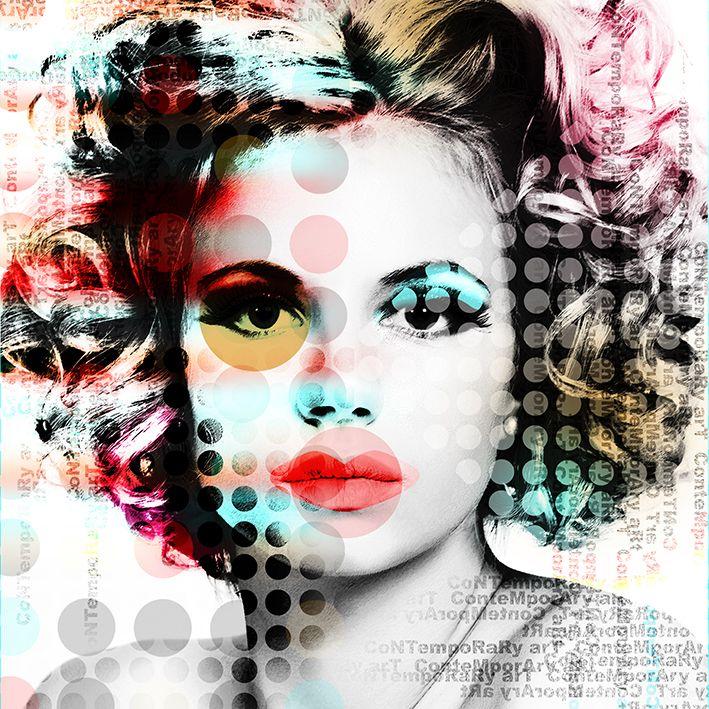 baskılı fon perde çağdaş sanat tarzı kız portre desenli