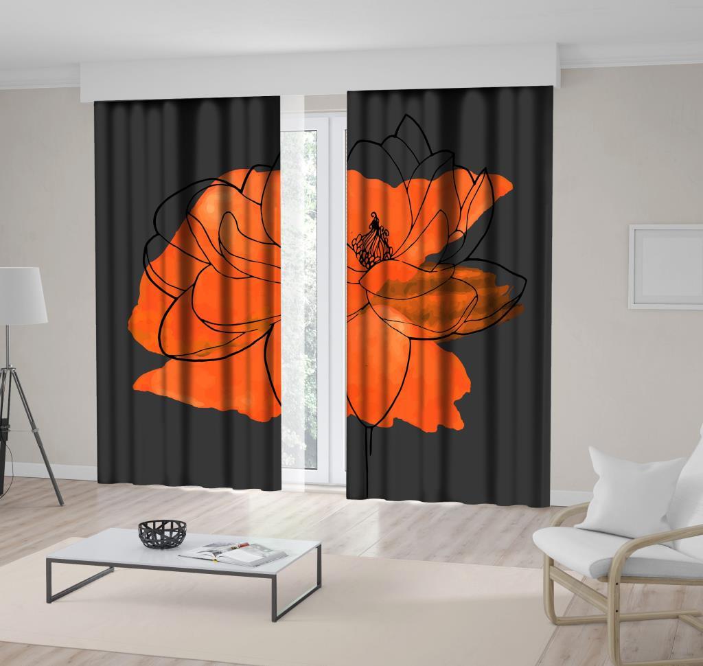 baskılı fon perde çiçek etkili turuncu renk desenli