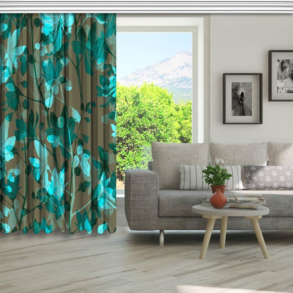 baskılı fon perde çiçek ve yaprak etkili mavi ve ton desenli