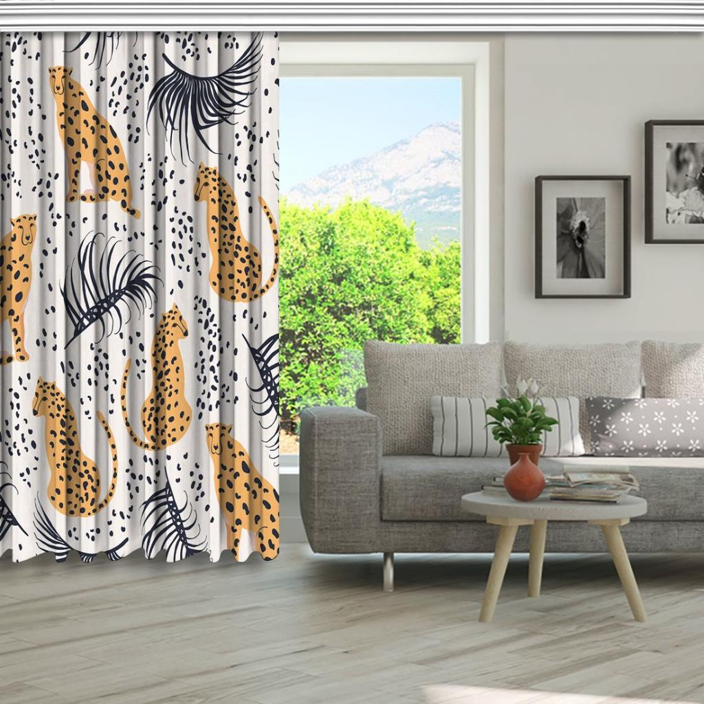 baskılı fon perde çita ve palmiye etkili fantastik desenli