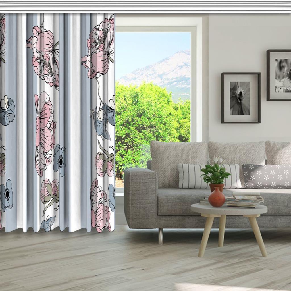 baskılı fon perde çizgili arka plan pembe çiçek gri yaprak desenli
