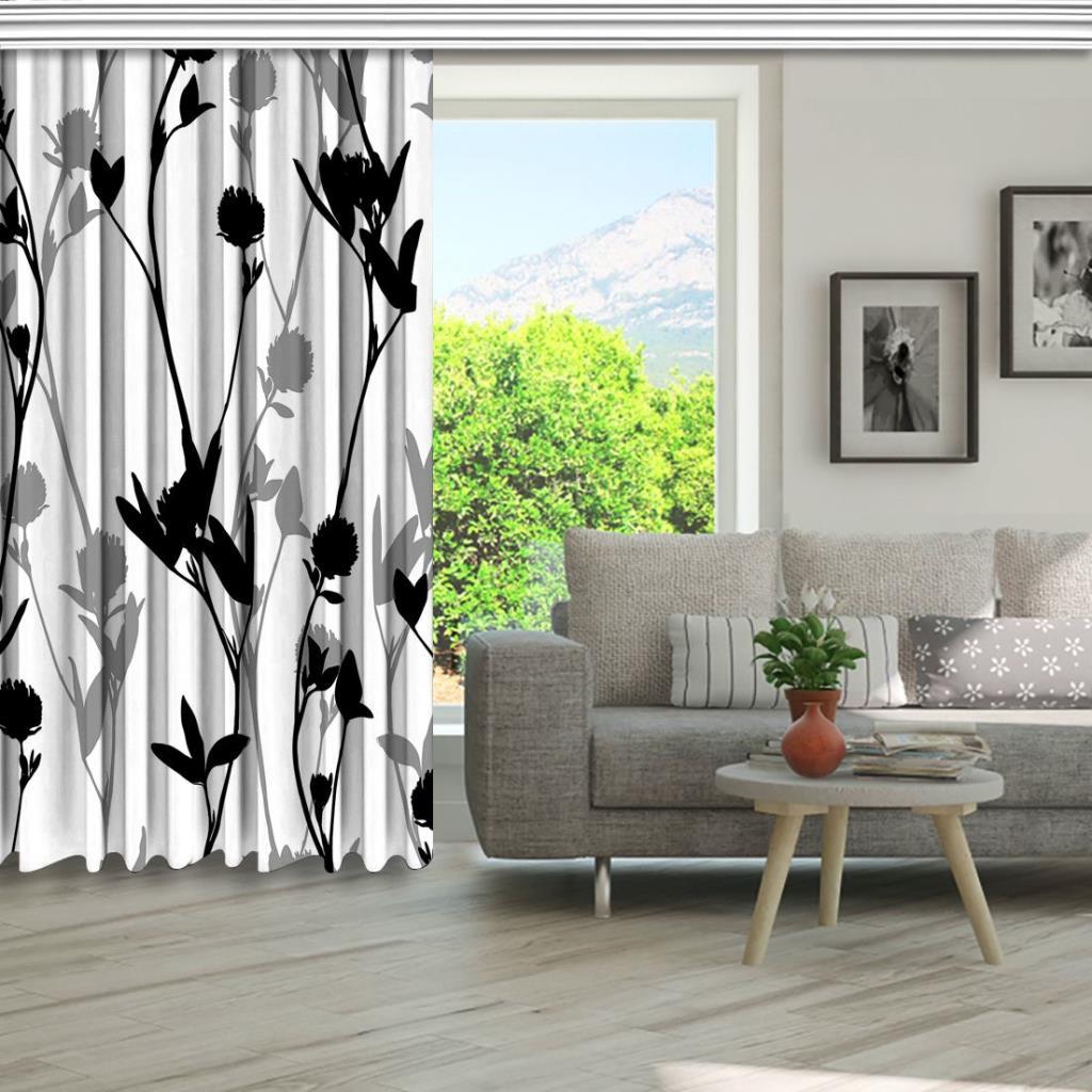 baskılı fon perde çizilmiş çiçek modeli üzerinde yonca siluetleri desenli