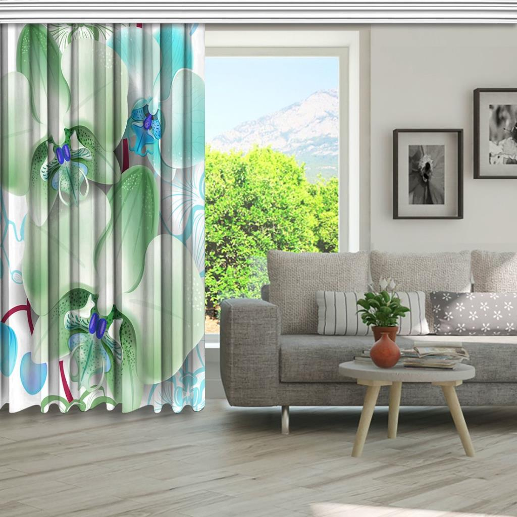 baskılı fon perde çizim tropik zeminli yeşil orkide desenli