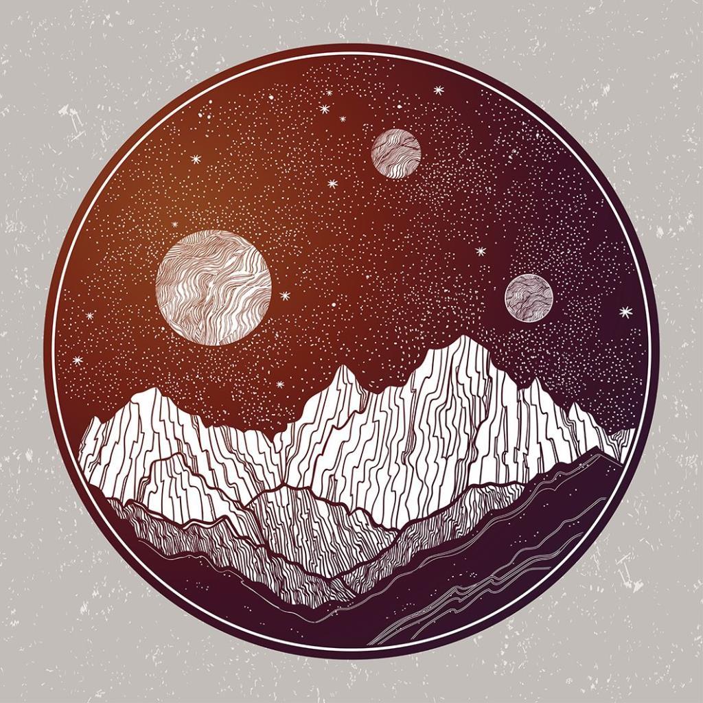 baskılı fon perde dağ manzara gece gökyüzü desenli gri