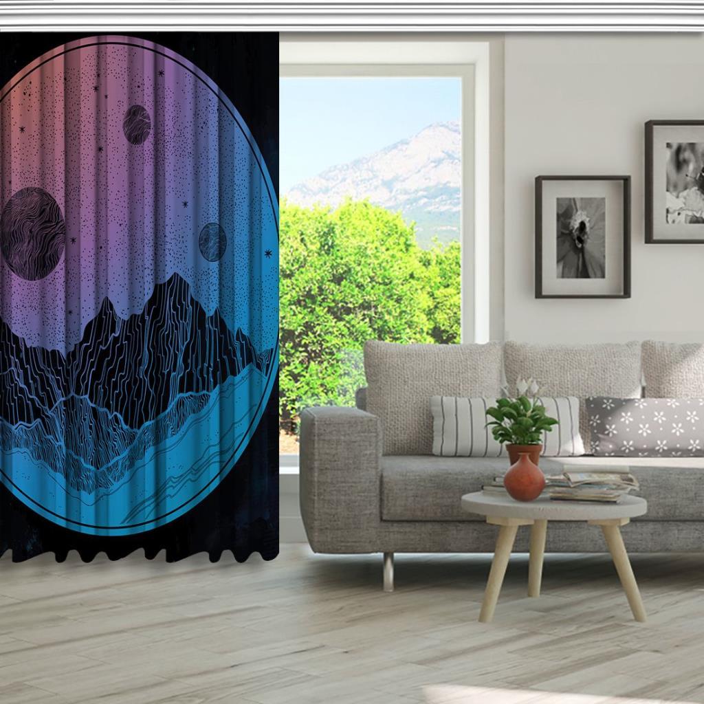 baskılı fon perde dağ manzara gece gökyüzü desenli mavi pembe
