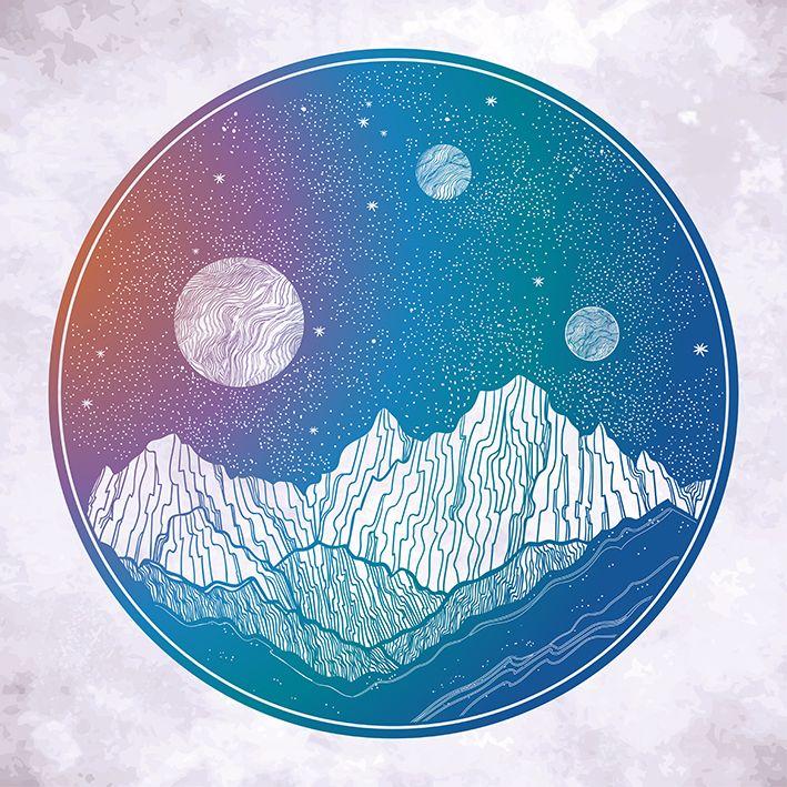 baskılı fon perde dağ manzara gece gökyüzü desenli pudra