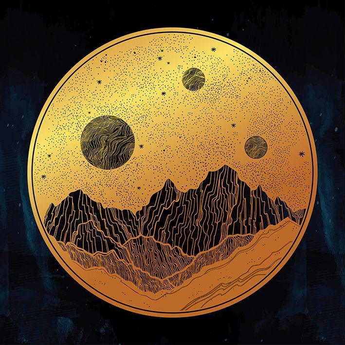 baskılı fon perde dağ manzara gece gökyüzü desenli sarı