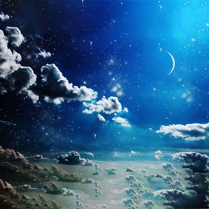 baskılı fon perde dağınık bulut ay desenli mavi