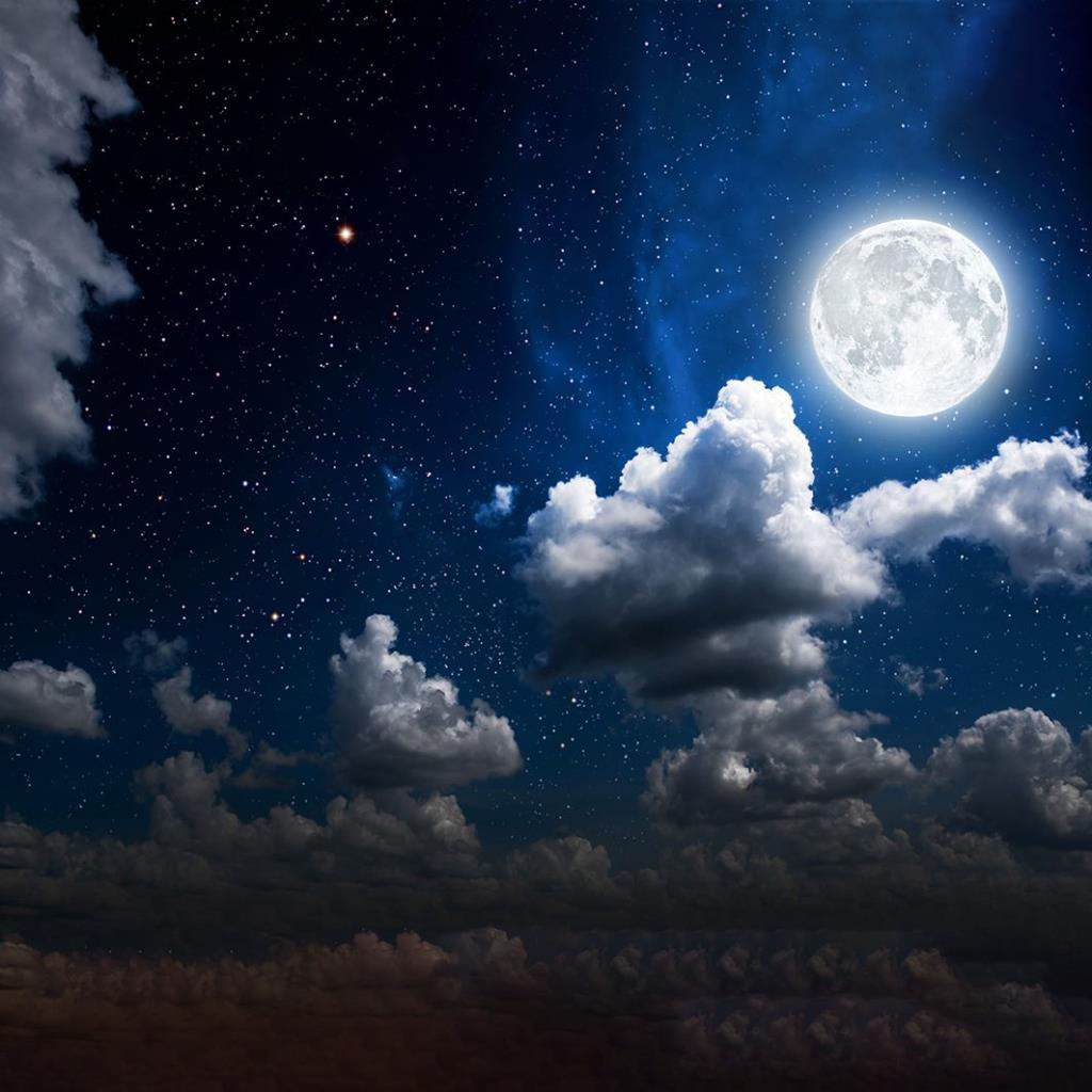 baskılı fon perde dağınık bulut gökyüzü ay desenli mavi