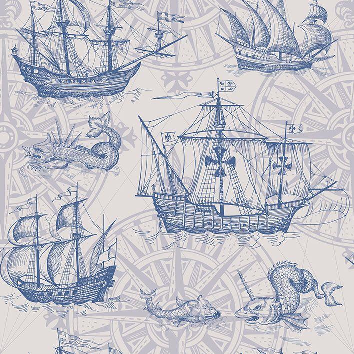 baskılı fon perde deniz canavar eski coğrafi harita desenli