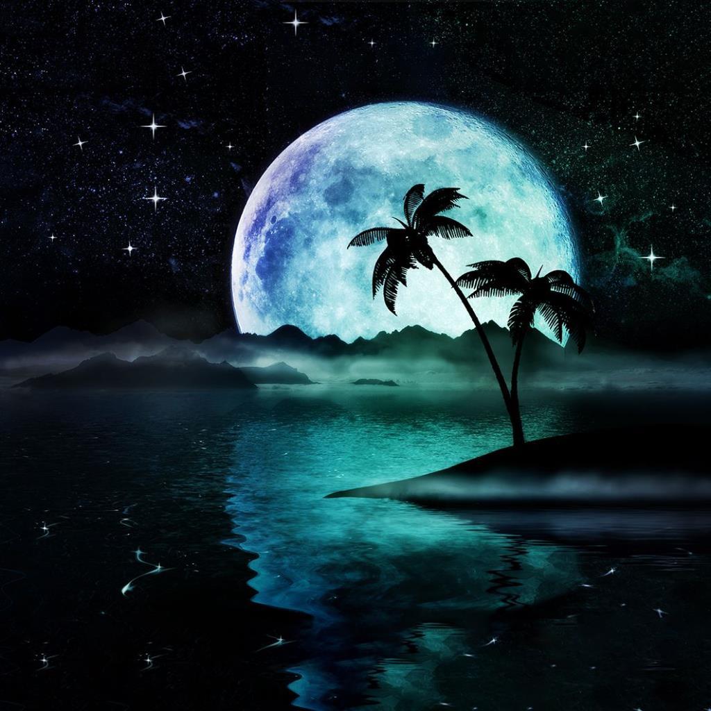 baskılı fon perde deniz üzerinde büyük ay desenli