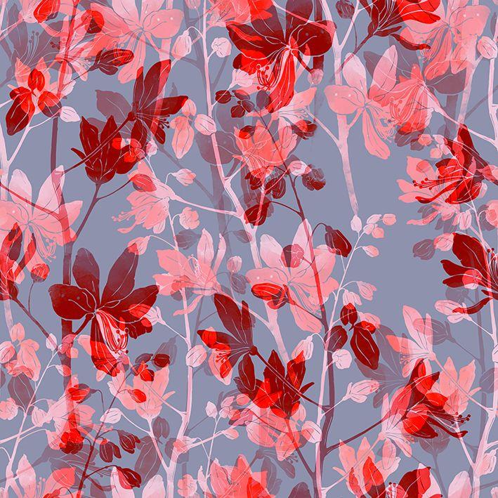 baskılı fon perde dijital çizim etkili kırmızı renkleri tonlu desenli