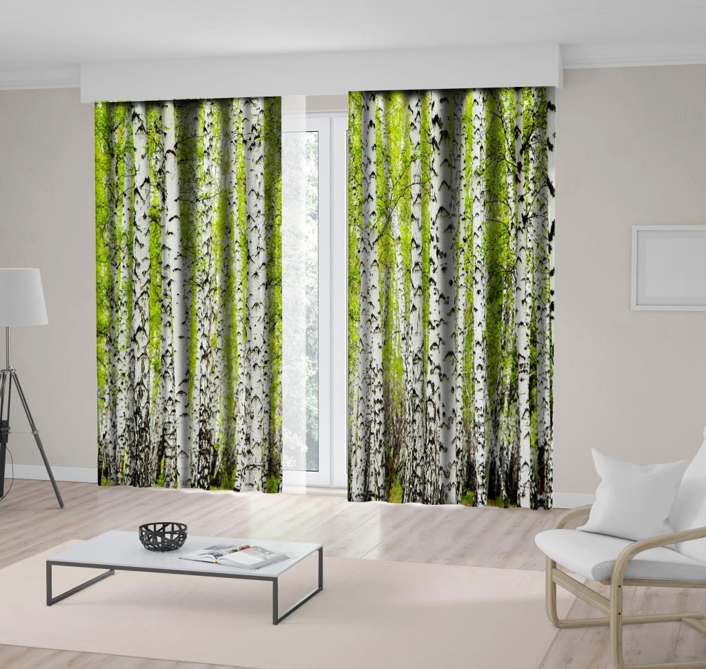 baskılı fon perde doğa ağaç yeşil yaprak desenli