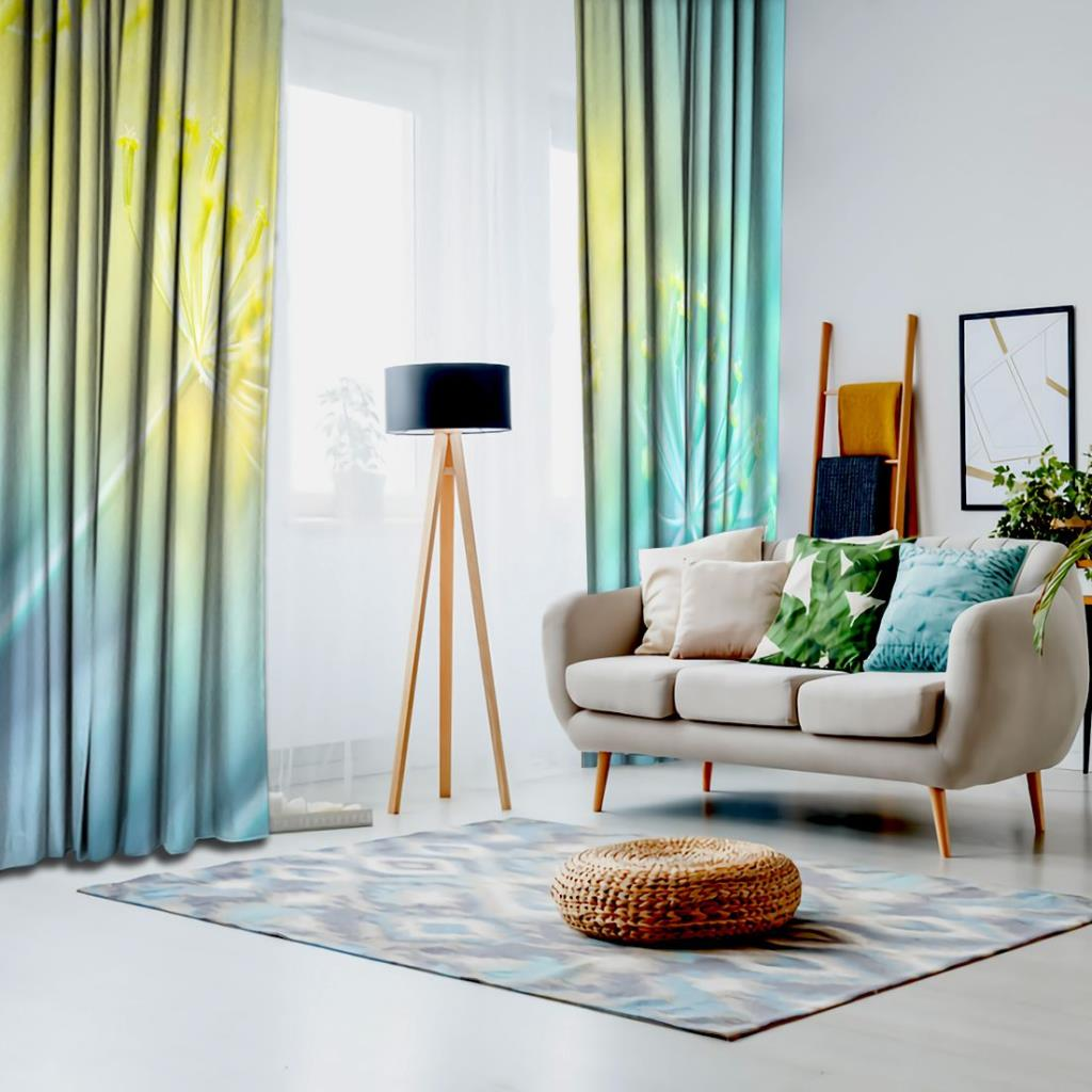 baskılı fon perde doğa etkili mavi ve turkaz renkli ot desenli