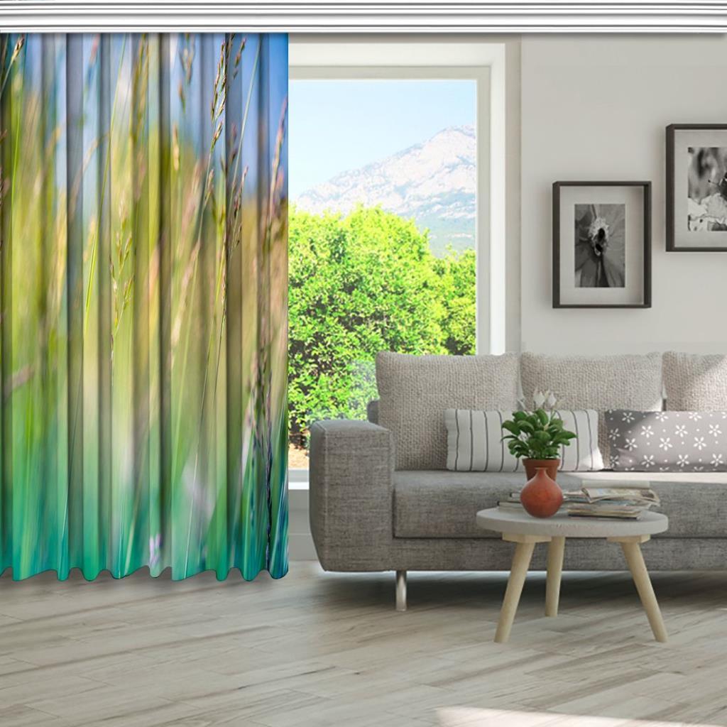 baskılı fon perde doğa manzaralı renkli arpa desenli