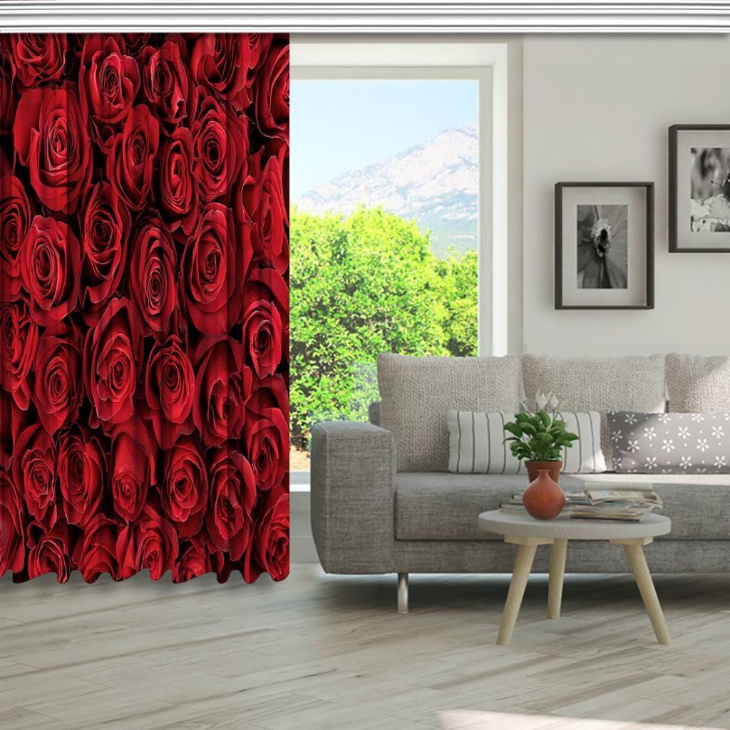 baskılı fon perde doğal kırmızı gül desenli