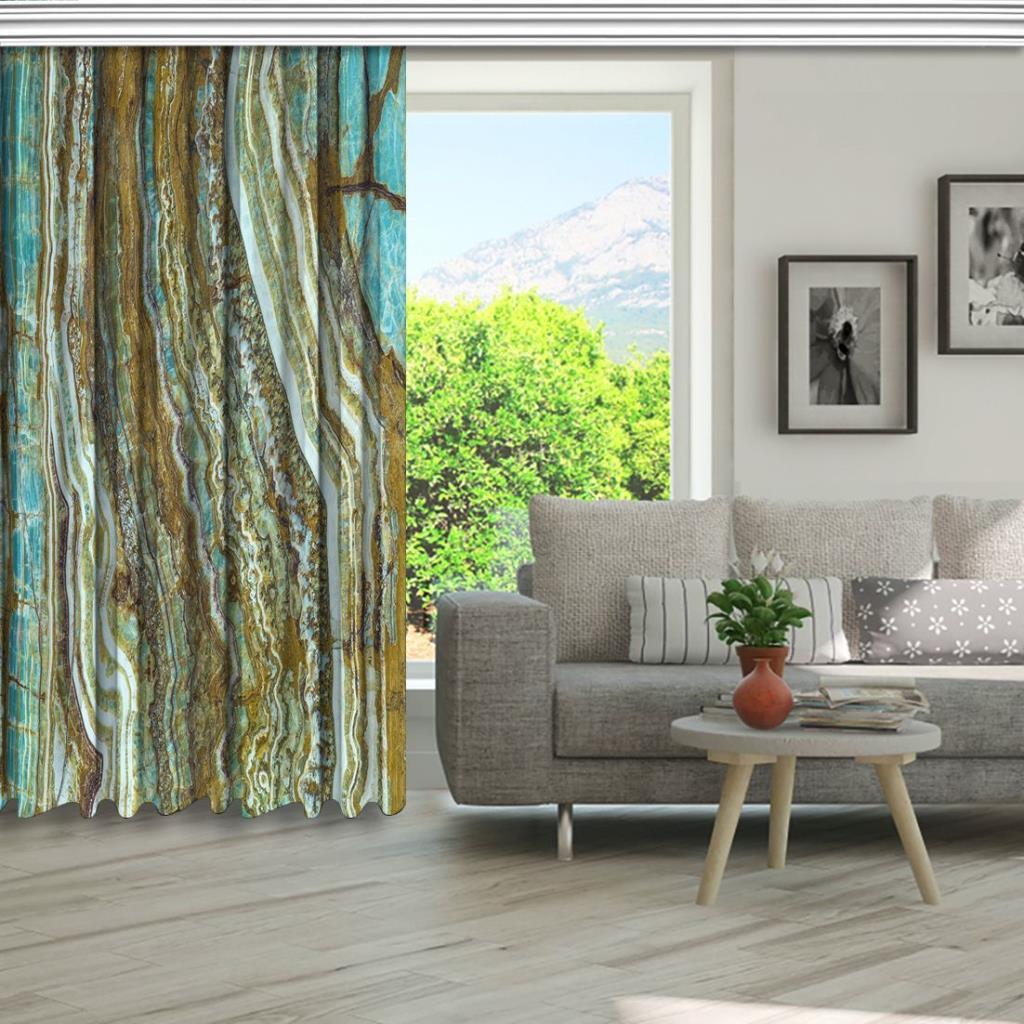 baskılı fon perde doğal taş dokusu mint ve kahve renkli desenli
