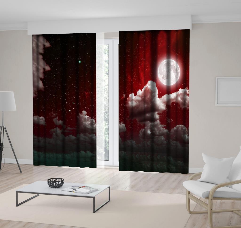 baskılı fon perde dolunay ve bulut etkili kırmızı renk desenli