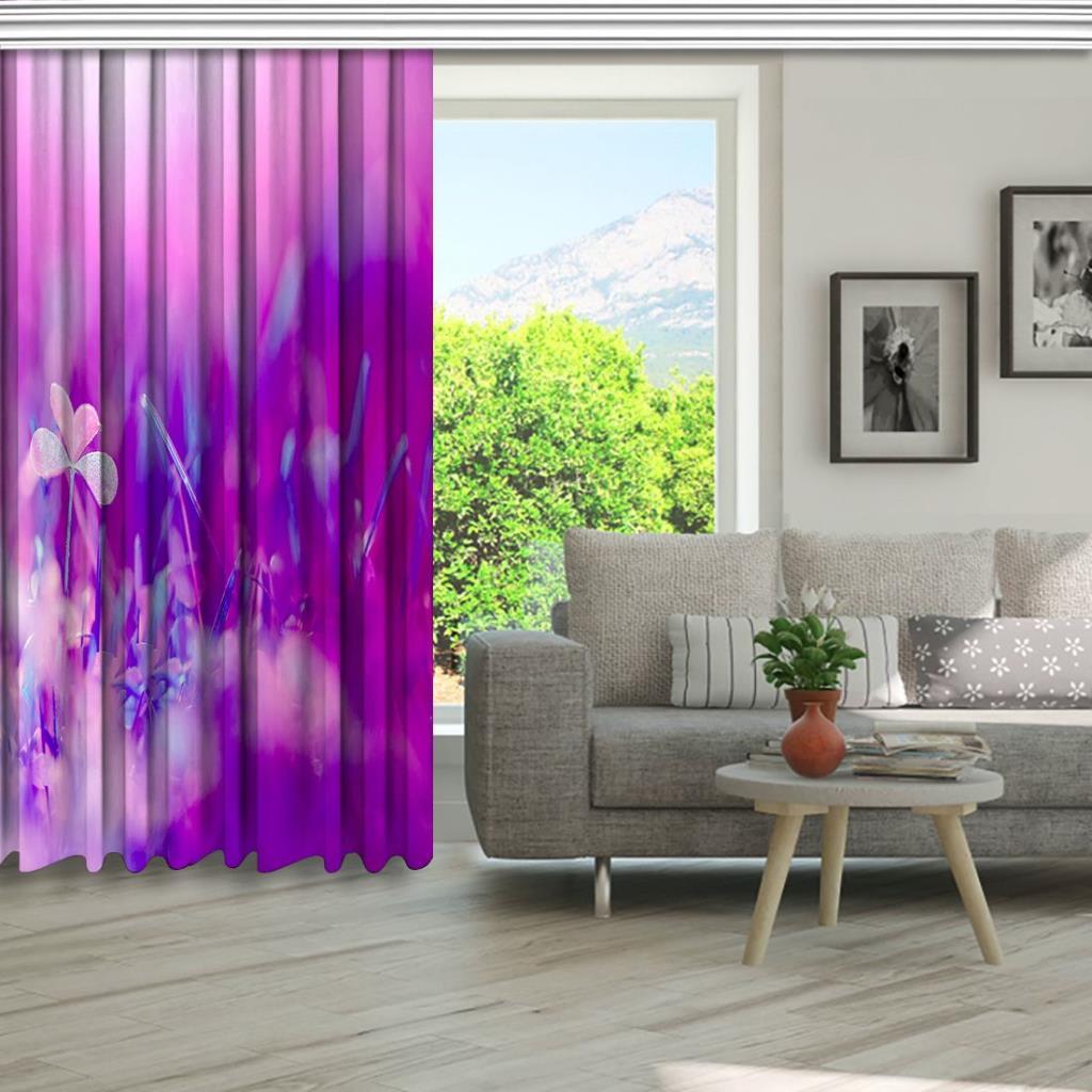 baskılı fon perde eflatun silik efektli kır bahçesi desenli