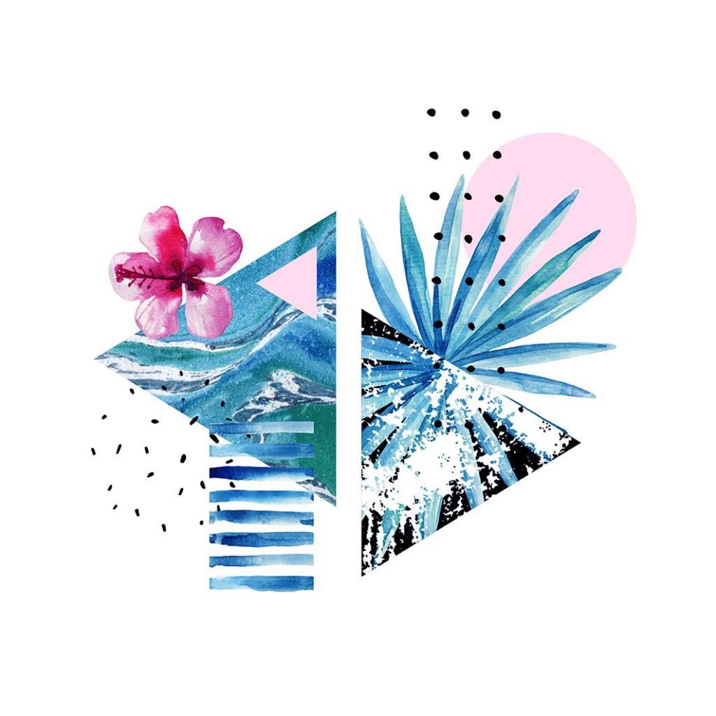 baskılı fon perde egzotik çiçek geometrik desenli pembe mavi