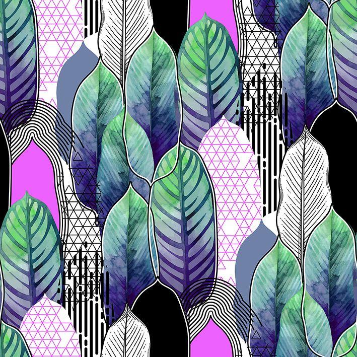 baskılı fon perde egzotik helikonia suluboya yapraklı desenli