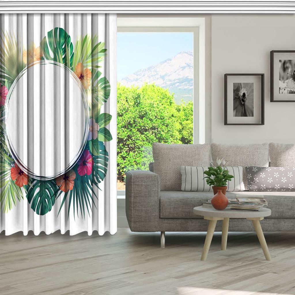 baskılı fon perde egzotik palmiye yaprak desenli yeşil