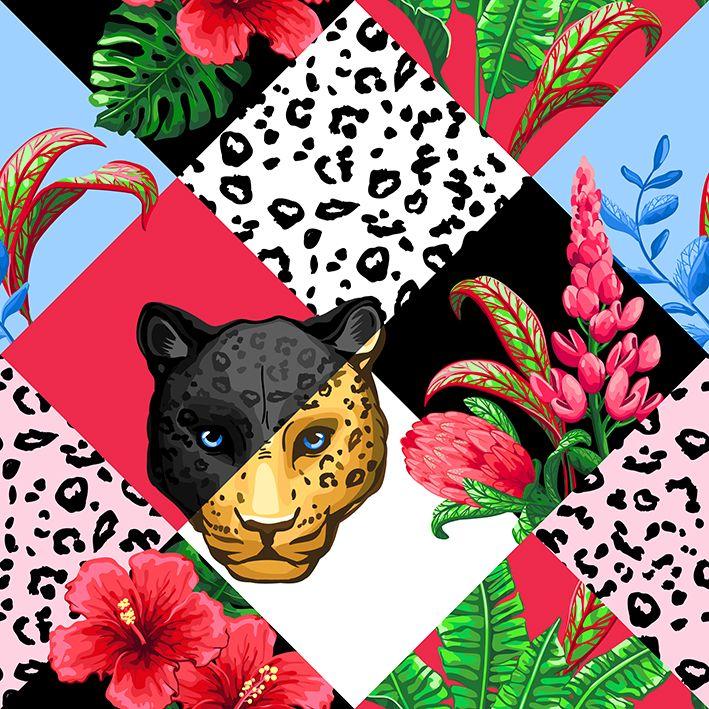 baskılı fon perde ekose etkili leopar çiçek desenli