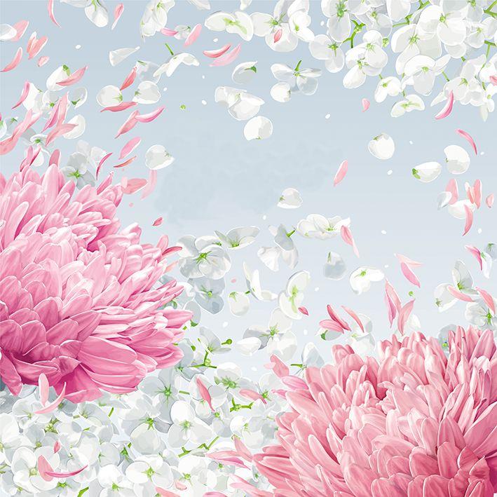 baskılı fon perde elma çiçeği rüzgar uçuşan yaprak desenli