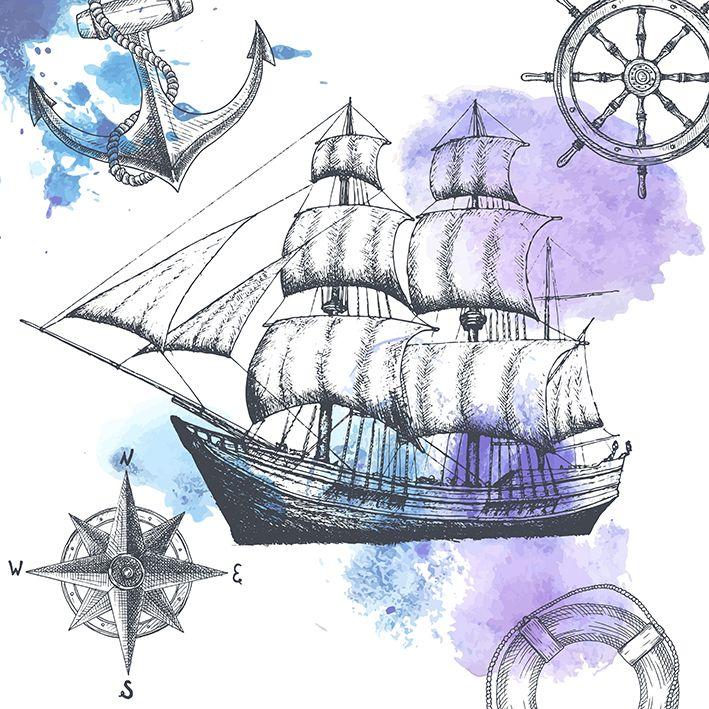 baskılı fon perde eski gemi deniz tema desenli mor mavi