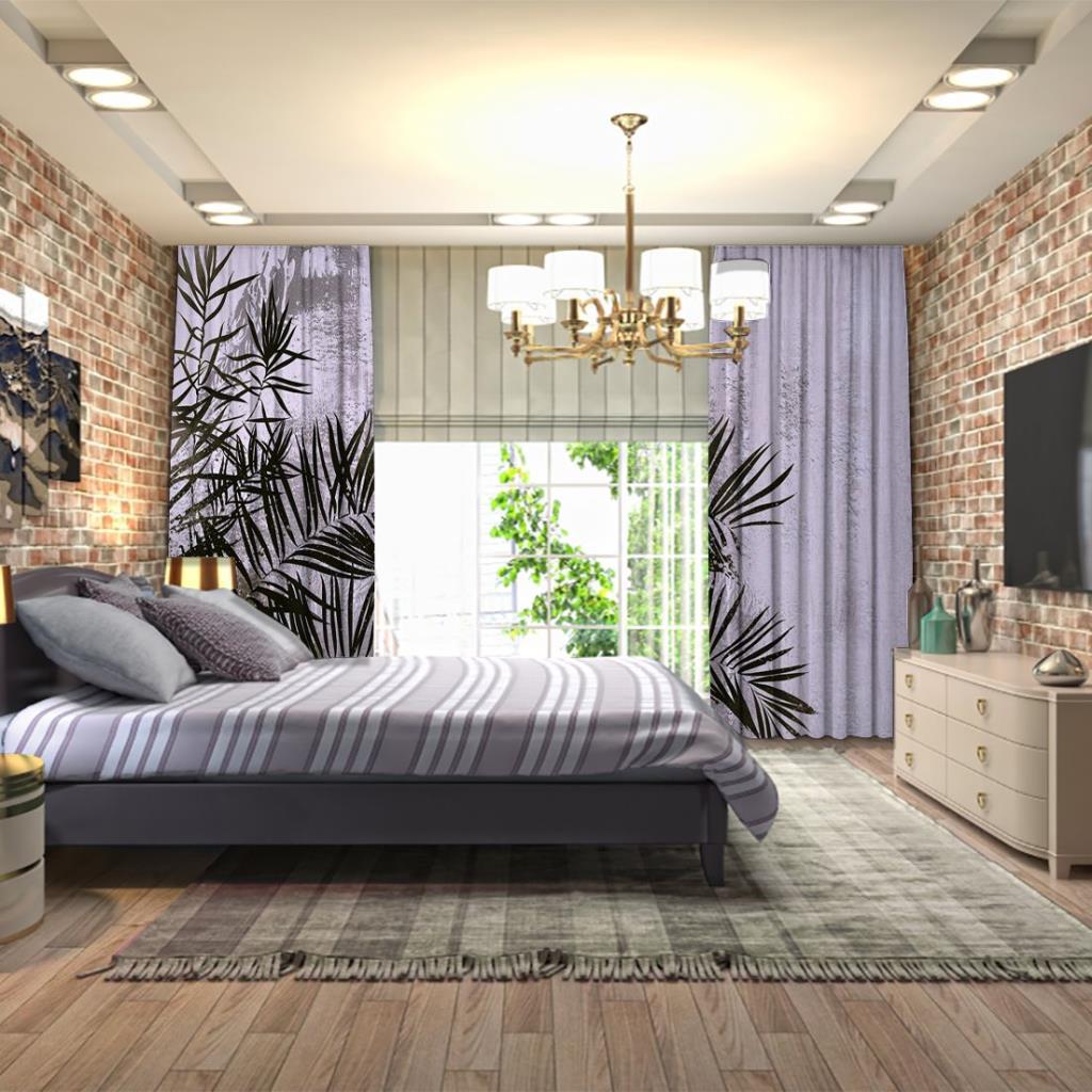baskılı fon perde eskitme duvar üzerine tropik yapraklı desenli