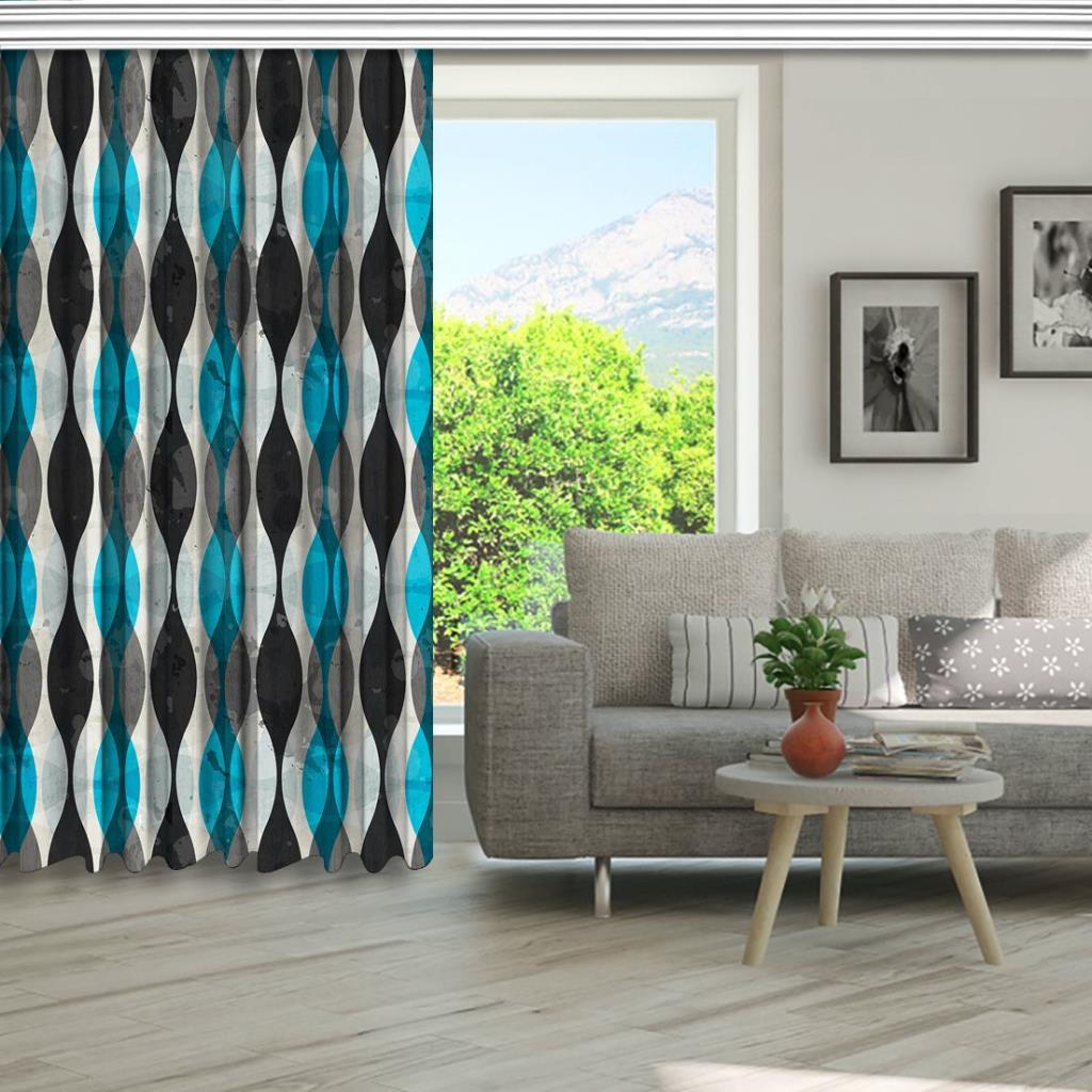 baskılı fon perde eskitme gri ve mavi dalga desenli