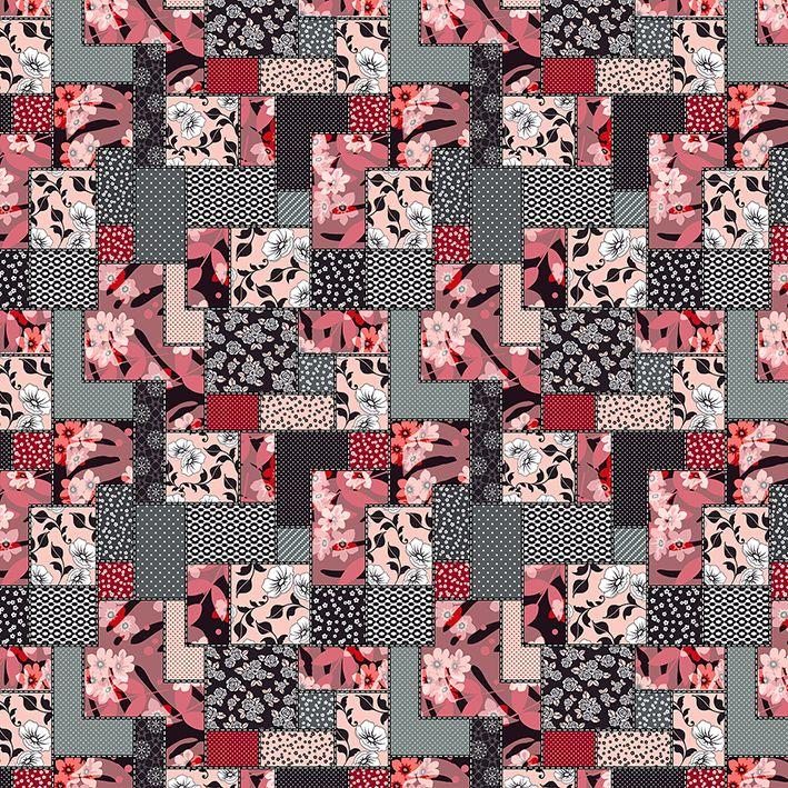 baskılı fon perde etnik çiçek geometrik desenli kırmızı