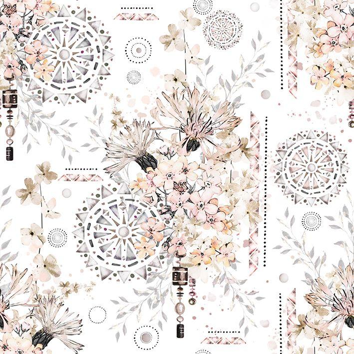 baskılı fon perde etnik etkili soft renkli çiçek desenli