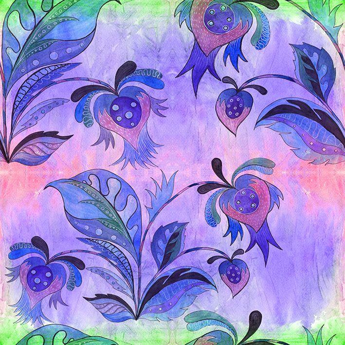 baskılı fon perde etnik tarzda çiçek birleşim desenli