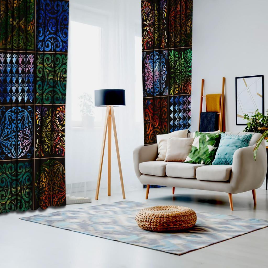 baskılı fon perde etnik tarzda parlak ve yaglı boya desenli