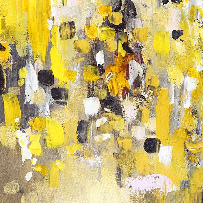 baskılı fon perde fırça darbesi suluboya sarı gri desenli