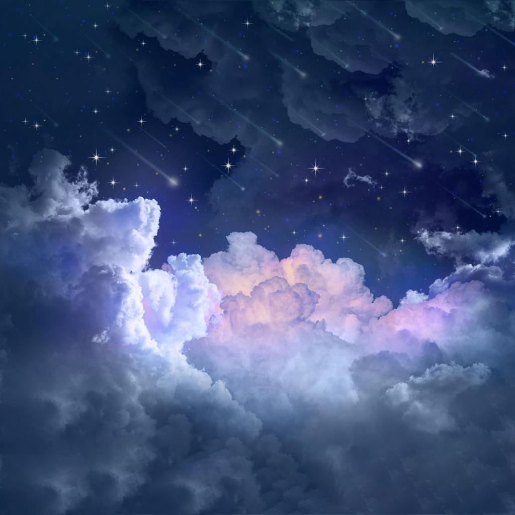 baskılı fon perde gece gökyüzü yıldız desenli mavi mor