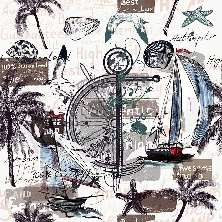 baskılı fon perde gemi kabuk palmiye ağaç desenli kahverengi
