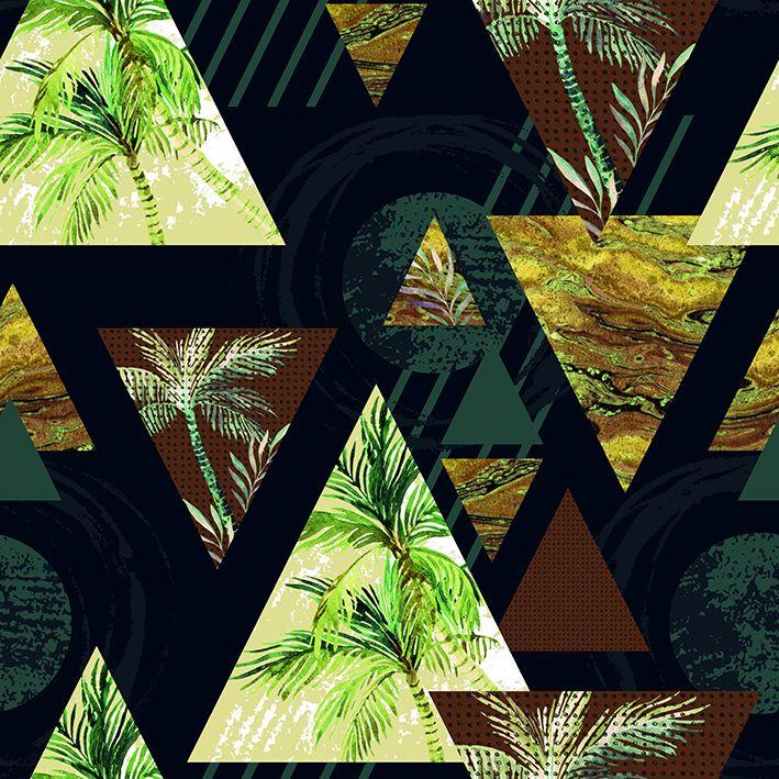 baskılı fon perde geometrik desen etkili yeşil ve kahverengi ton desenli