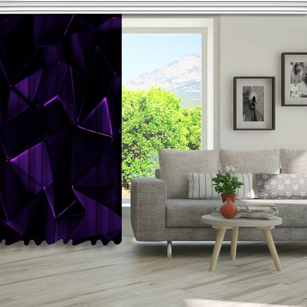 baskılı fon perde geometrik karanlık parlak desenli mor