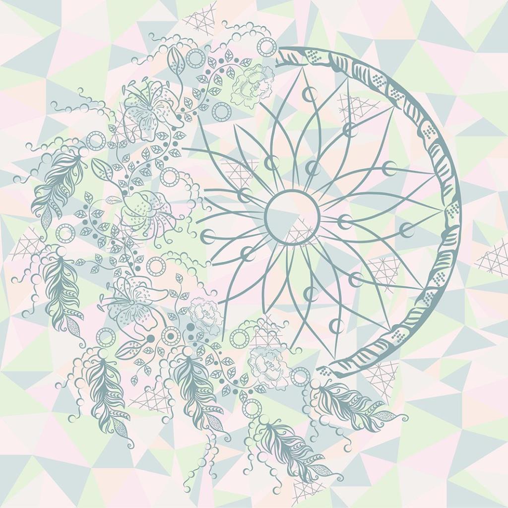 baskılı fon perde geometrik kuş tüyü çember desenli pembe yeşil