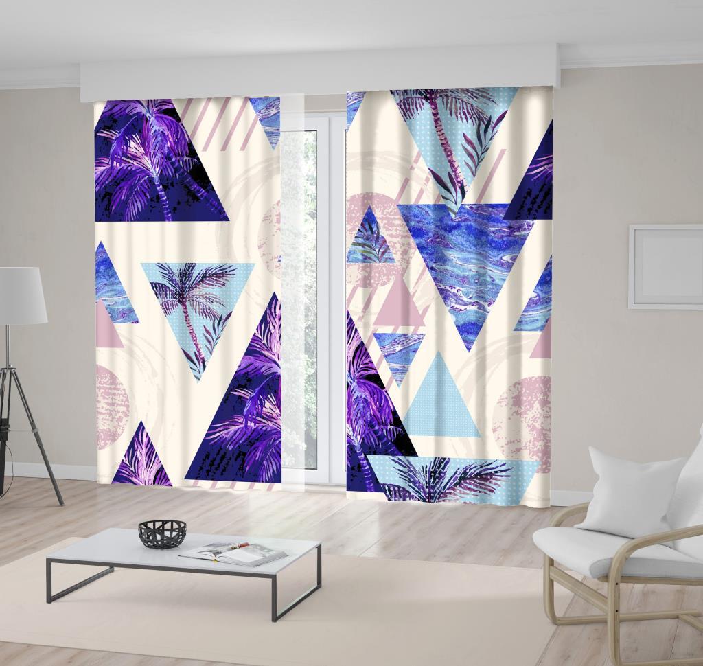 baskılı fon perde geometrik palmiye dal desenli mor