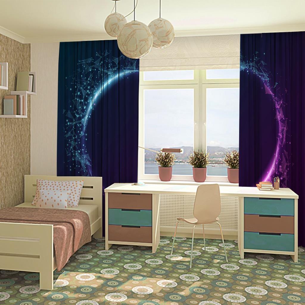 baskılı fon perde geometrik parlayan mor ve mavi desenli