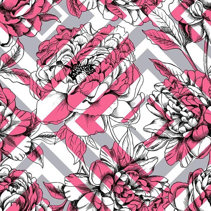 baskılı fon perde geometrik pembe şekil çiçek desenli