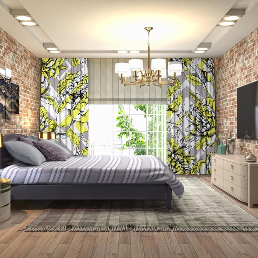baskılı fon perde geometrik şekil etkili gül ve yaprak desenli