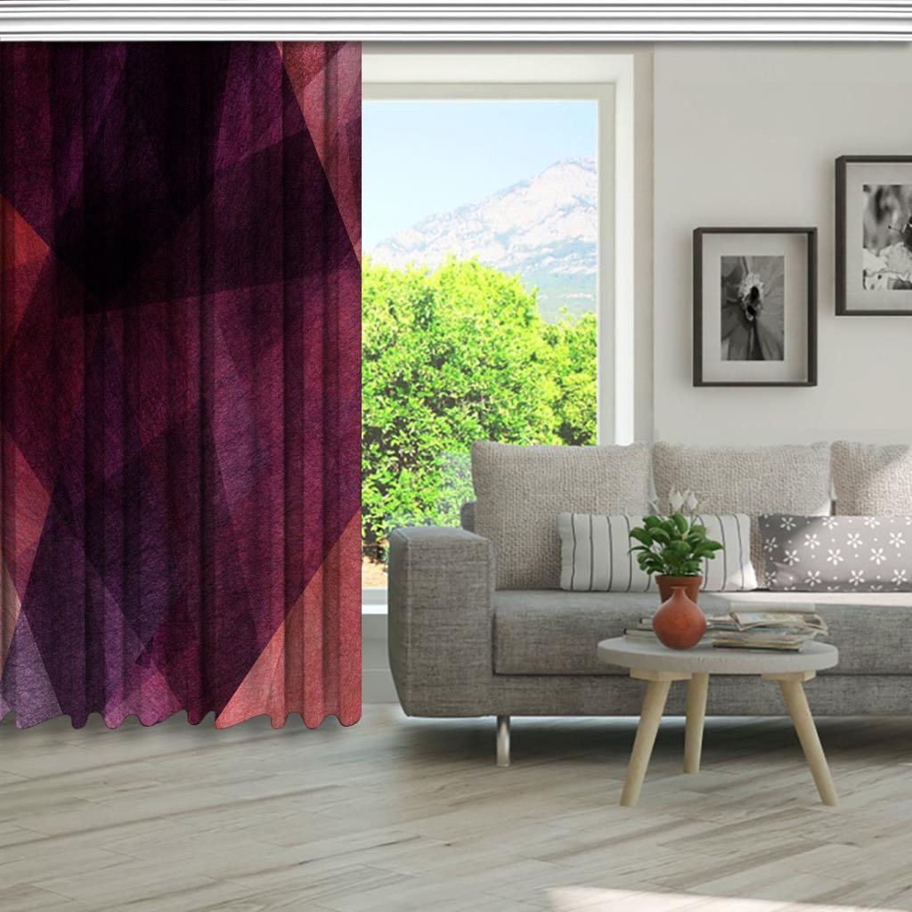 baskılı fon perde geometrik şekil etkili mor ve pembe renk desenli