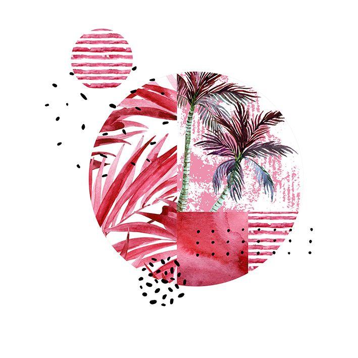 baskılı fon perde geometrik şekilli pembe ve yeşil renk palmiye desenli