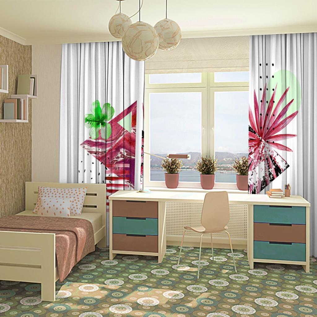 baskılı fon perde geometrik şekilli ve yaprak pembe ve yeşil renk desenli