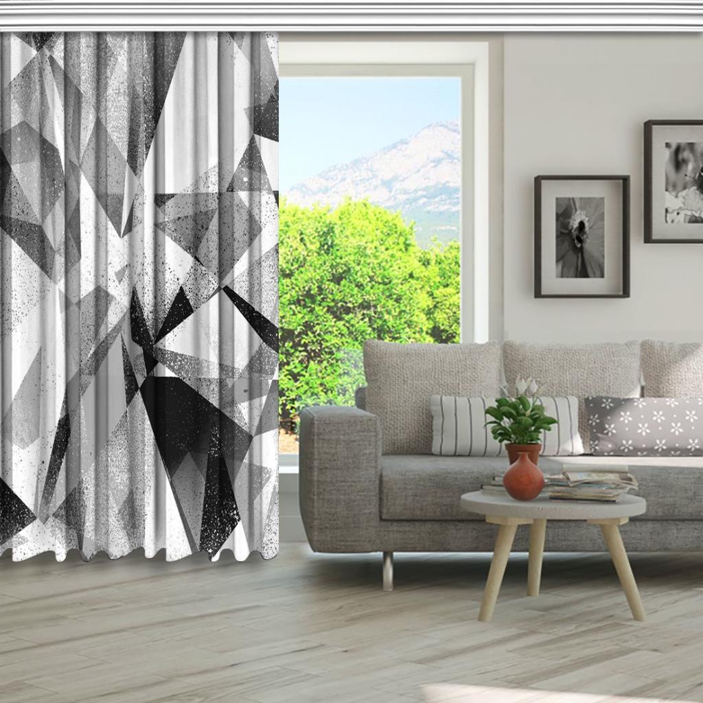 baskılı fon perde geometrik siyah ve beyaz arka plan desenli
