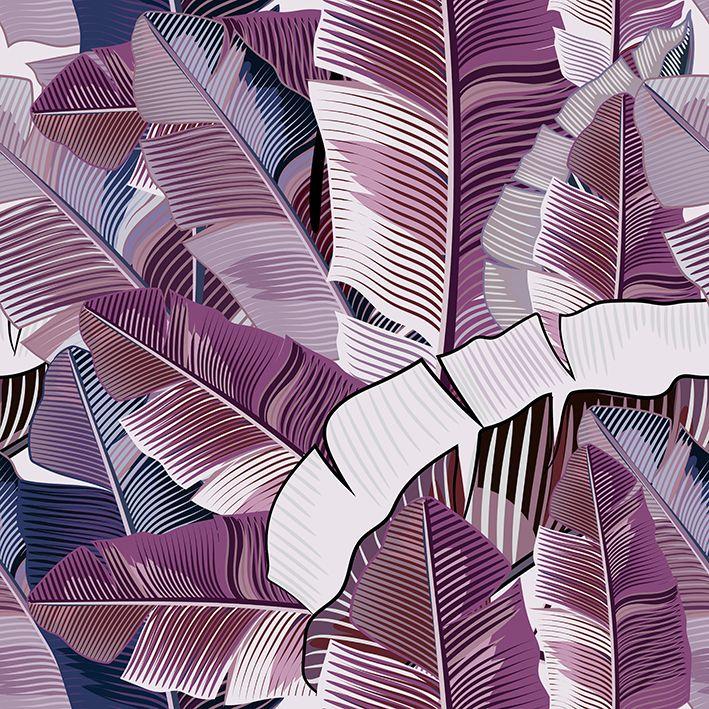 baskılı fon perde gerçekçi muz yeşili tropikal yapraklar desenli